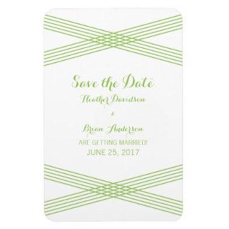 Green Modern Deco Save the Date Magnet Rectangular Photo Magnet