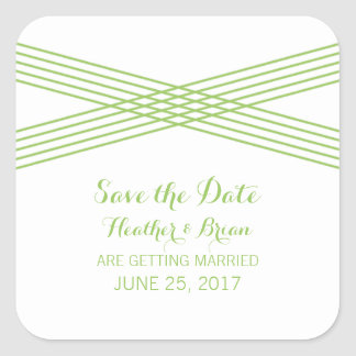 Green Modern Deco Save the Date Stickers Square Sticker