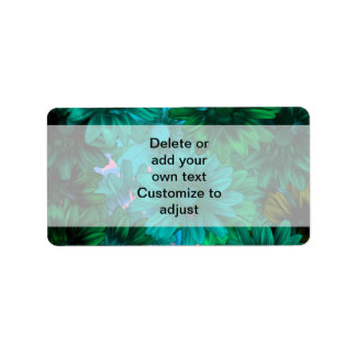 Green modern floral address label