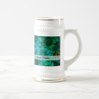 Green modern floral beer steins