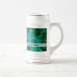 Green modern floral beer steins