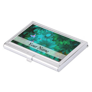 Green modern floral case for business cards