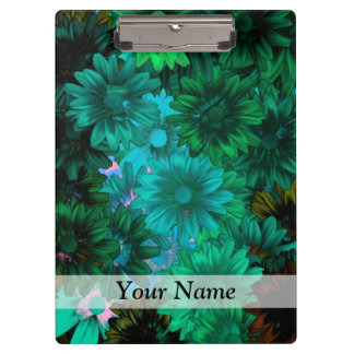 Green modern floral clipboards