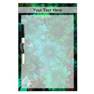 Green modern floral dry erase board