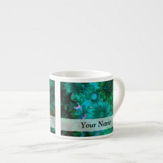 Green modern floral espresso mug