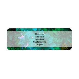 Green modern floral return address label