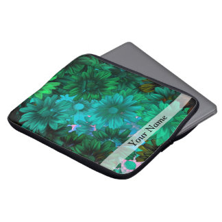 Green modern floral computer sleeves