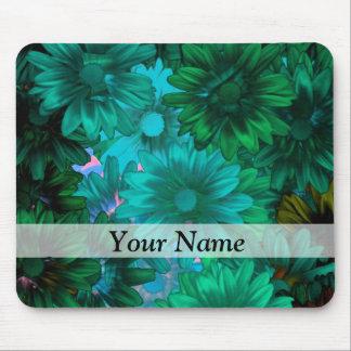 Green modern floral mouse mat