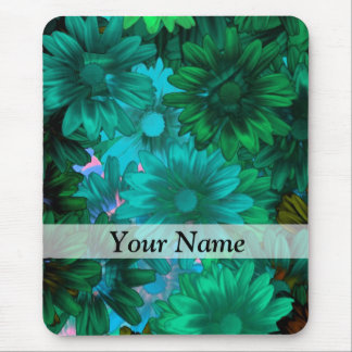 Green modern floral mouse pad