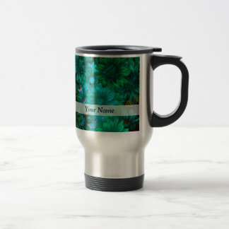 Green modern floral mug