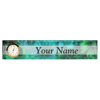 Green modern floral name plate