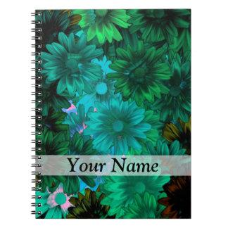 Green modern floral notebook