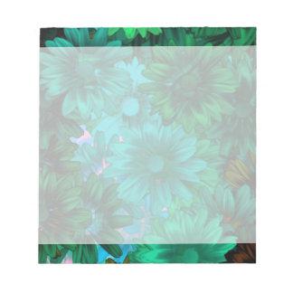 Green modern floral memo pad