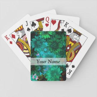 Green modern floral card deck
