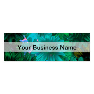 Green modern floral pack of skinny business cards