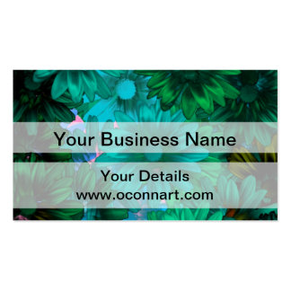 Green modern floral pack of standard business cards