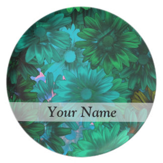 Green modern floral party plates
