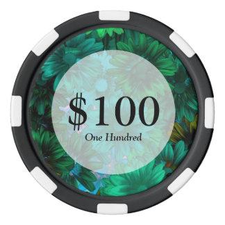 Green modern floral poker chip set