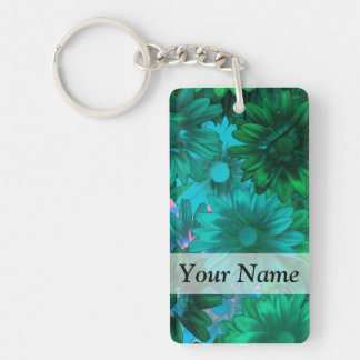 Green modern floral Single-Sided rectangular acrylic key ring