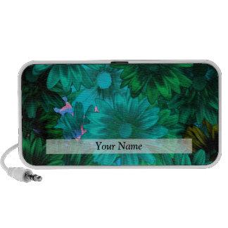 Green modern floral laptop speaker