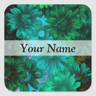 Green modern floral square sticker