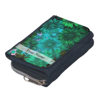 Green modern floral wallets