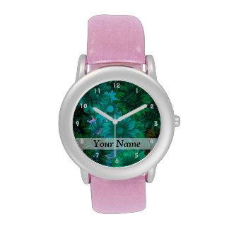 Green modern floral wrist watches