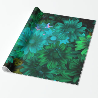 Green modern floral gift wrapping paper