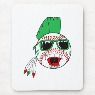 Green mohawk baseball mouse pad