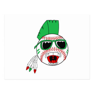Green mohawk baseball postcard