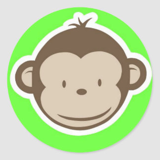 Green Monkey Classic Round Sticker