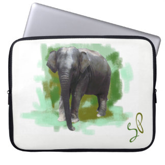 Green Monogram Beautiful Painted Baby Elephant Laptop Sleeve
