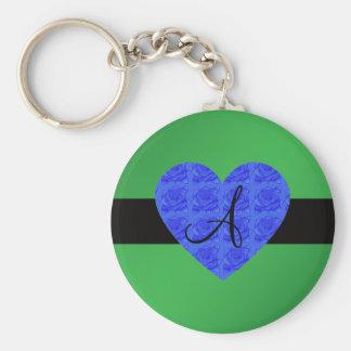 Green monogram blue roses basic round button key ring
