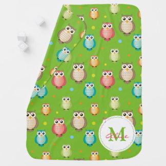 Green Monogram Cute Wise Owls Pattern Baby Blanket