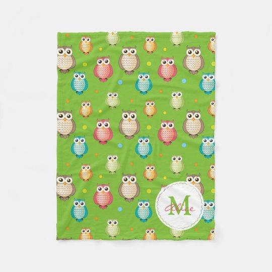 Green Monogram Cute Wise Owls Pattern Fleece Blanket