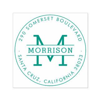 Green Monogram & Family Name Round Return Address Self-inking Stamp