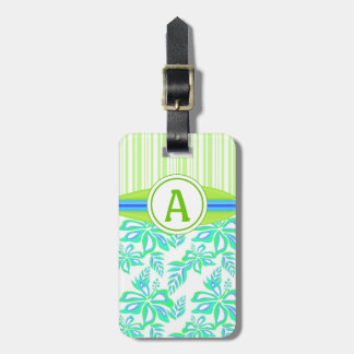 Green Monogram Hibiscus Flowers Tropical Beach Luggage Tag