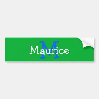 Green Monogram Initial Name Kid Water Bottle Decal Bumper Sticker