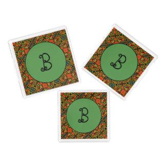 Green Monogram Ladybug Pattern Polka Dots Flowers Acrylic Tray