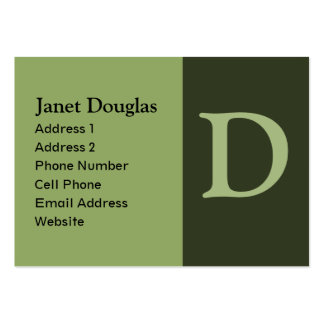 green monogram pack of chubby business cards