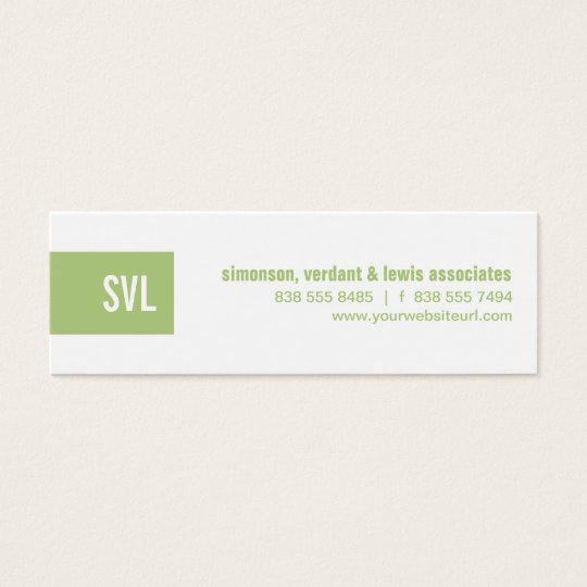 Green Monogram Strip Mini Business Card