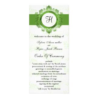 green monogram Wedding program Personalised Rack Card