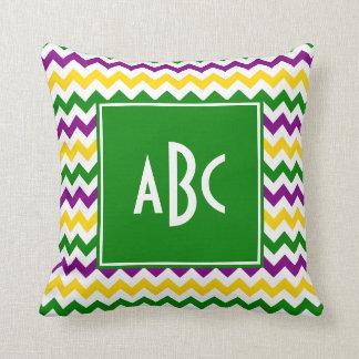 Green Monogrammed Mardi Gras Zigzag Cushion