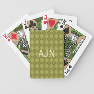 Green Monogrammed Playing Cards