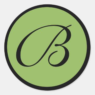 Green Monogrammed Wedding Envelope Seals Classic Round Sticker