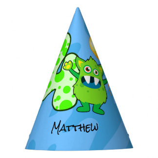 Green Monster 4th Birthday Party Hat