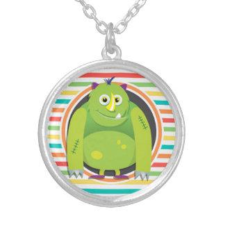 Green Monster Bright Rainbow Stripes Custom Necklace