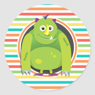 Green Monster Bright Rainbow Stripes Stickers