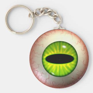 Green Monster Eye-Ball Keyring Basic Round Button Key Ring