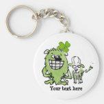 Green Monster Goat Shamrock Cartoon Keychains